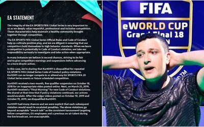 Nadával na FIFU a pak plivl na šálu s logem EA. Profesionální hráč za to dostal ban, společnosti došla trpělivost