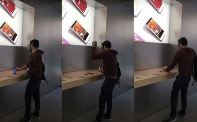 Nahnevaný zákazník porozbíjal v Apple Store elektroniku za tisíce eur oceľovou guľou. Nechceli mu vrátiť peniaze