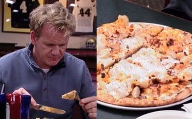 Najnechutnejšia pizza, akú kedy jedol. Gordon Ramsay si na kvalitu pokrmov potrpí, ale v jednej z reštaurácií stratil pri stole reč