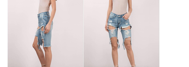 Najnovším trendom v roztrhaných džínsoch sú bermudy siahajúce po kolená. Zo svojich džínsov z minulého roku stačí iba odstrihnúť