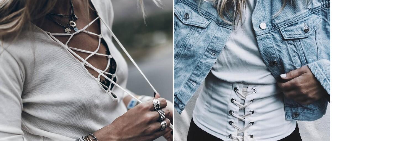 Najväčším trendom prebiehajúceho roka sú šnúrky. Sťahovacie lace-up oblečenie ponúka nevyčerpateľne veľa sexy možností