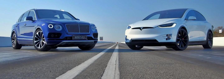 Nejvýkonnější SUV na světě, 608koňová Bentayga ve sprintu proti nejsilnější Tesle Model X P90D