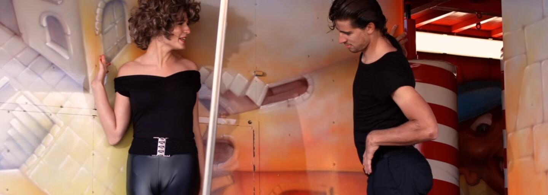 Najznámejšia scéna z Pomády v podaní Peťa Sagana a jeho manželky. Náš cyklista by sa nestratil ani v muzikáloch
