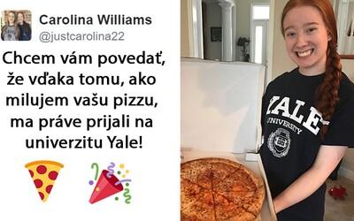 Napísala esej na tému pizza a prijali ju vďaka nej na univerzitu Yale. Papa John's jej teraz daroval pizzu zadarmo na celý rok!