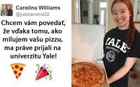 Napsala esej na téma pizza a přijali ji díky ní na univerzitu Yale. Papa John's jí nyní darovali pizzu zdarma na celý rok