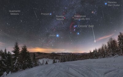 NASA ocenila ďalšiu snímku zasneženej Oravy s meteorickým rojom v pozadí. Stala sa fotografiou dňa
