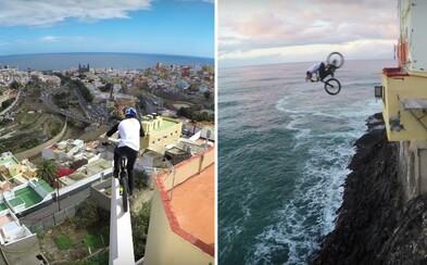 Nebojácný Danny MacAskill skáče po střechách na Kanárských ostrovech s kamerou na hlavě
