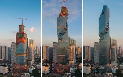 Největší mrakodrap Thajska je dokončen. Netradiční budova vypadá, jako kdyby jí chyběly pixely