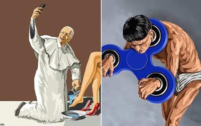 Nelítostné ilustrace ázerbájdžánského umělce ti ukáží, že svět není v pořádku. Lidé jsou otroci trendů a technologií
