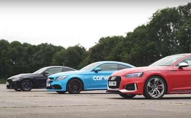 Nemecká trojka ostrých modelov si zmerala sily. Je rýchlejšia nová RS5-ka, M4-ka alebo C 63 kupé?