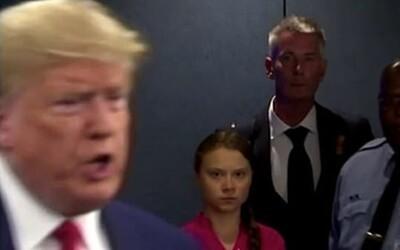 Nenávistný pohled Grety Thunberg směrem k Trumpovi si lidé oblíbili. Vzniklo množství vtipných obrázků