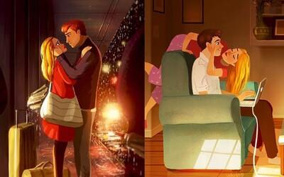 Není nic krásnějšího než být zamilovaný. Ilustrace šikovné umělkyně zachycují společné idylické chvíle