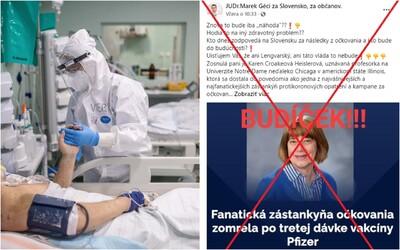 Neočkovaní, mnohým ste urobili zo života peklo, odkázala umierajúca profesorka. Podľa konšpirátorov ju zabila tretia dávka vakcíny