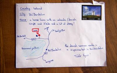 Nevěděl přesnou adresu islandské farmy, tak na obálku nakreslil mapu. Pošťák ji nakonec i skutečně doručil!