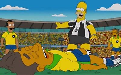 Neymar aka El Divo v Simpsonovcoch ako paródia na simulovanie