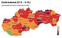 Nové rozdelenie: od pondelka bude 5 okresov v bordovej farbe. Zelená zostáva už len Dunajská Streda