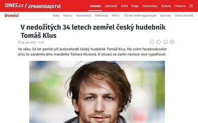 O smrti Tomáše Kluse koloval na internetu dvojitý fake. Klus nezemřel a web iDNES.cz o tom nepsal