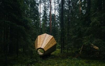 Obrovské drevené megafóny uprostred lesa dokonale zvýrazňujú okolité zvuky prírody