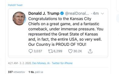 Obrovský přešlap Donalda Trumpa. Po finále Super Bowlu pogratuloval nesprávnému americkému státu