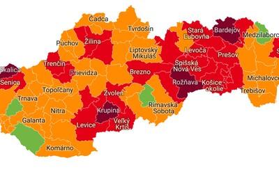 Od pondelka bude v červenej fáze 27 okresov, zelené ostali len 4. Takto vyzerá nové rozdelenie podľa covid automatu
