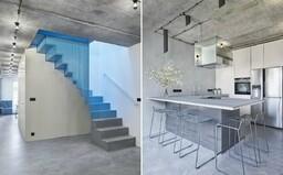 Odvážna premena mezonetového bytu v pražskom Podolí, ktorého dominantou je oceľové schodisko modrej farby