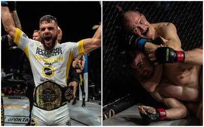 Oktagon MMA má nového šampióna, Gábor Boráros sa vrátil v plnej sile a nechýbalo ani tvrdé KO kopom do hlavy