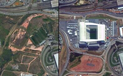 Olympijské dejisko v brazílskom Riu na záberoch zo satelitu ukazujúcich jeho postupnú premenu