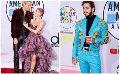 Opäť zaľúbení G-Eazy s Halsey alebo Post Malone v štýle divokého západu. Aké outfity prinieslo American Music Awards?