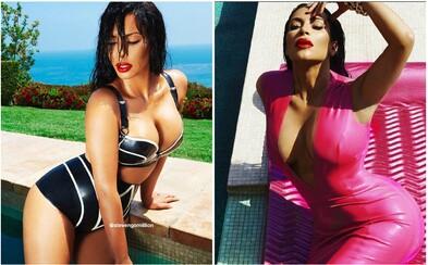 Oválná Kim Kardashian se během bazénových hrátek nacpala do sexy latexových oblečků