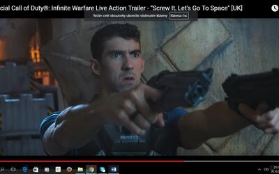Ozbrojený Michael Phelps řádí ve vesmíru v explozivním hraném traileru na Call of Duty: Infinite Warfare