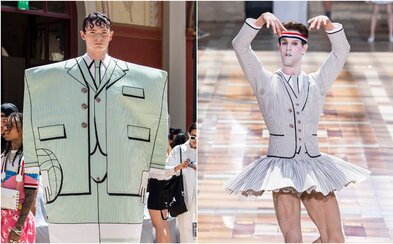 Pánske mini sukne, gigantické kopačky a 2D obleky. Módna značka prehliadkou šokovala