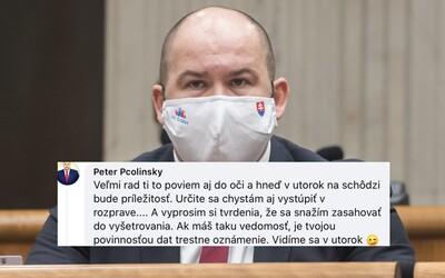 Pčolinský hrozí Mikulcovi v komentároch pod statusom: Vidíme sa v utorok, žmurk