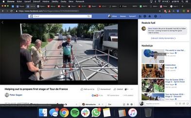 Peter Sagan pomáhal organizátorom Tour de France stavať lešenie kladivom
