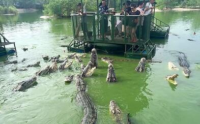 Plastové barely, rezavý raft a okolo tebe stovky hladových krokodýlů. Zvrácenou thajskou atrakci zavřela policie po rozhořčení lidí na internetu