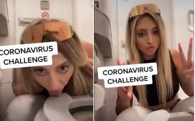 """Podívej se na """"koronavirus výzvu"""", při níž žena líže záchodovou mísu v letadle. Celý svět kritizuje její šílený nápad"""