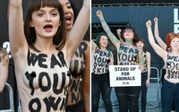 Polonahé protestující veganky překvapily návštěvníky londýnského Fashion Weeku. Lidé prý mají nosit svou vlastní kůži