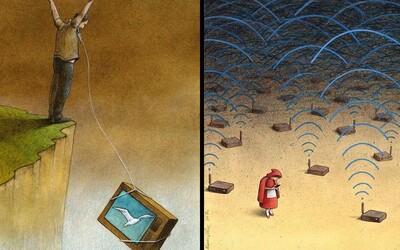 Poľský umelec poukazuje na problémy spoločnosti trefnými ilustráciami. Človeka priam nútia zamyslieť sa