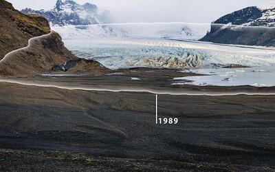 Porovnání otcovy a synovy fotografie ukazuje globální oteplování: Část ledovce se za 30 let radikálně zmenšila
