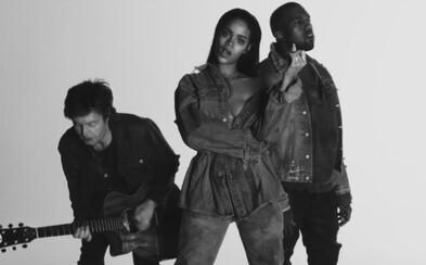 Půvabná Rihanna, Paul McCartney a Kanye v černobílém videoklipu k písni FourFiveSeconds