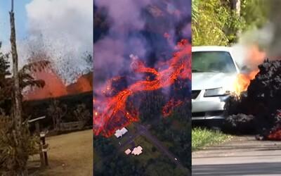Požírá auta, ničí domy a stříká ze zahrady. Láva na Havaji způsobuje katastrofické škody