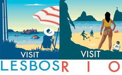 Pravdivé turistické plakáty známých světových destinací. Zapomeň na idylku z fotografií a přizpůsob se realitě