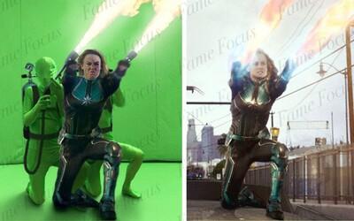 Před a po CGI: Vytvářeli schopnosti Captain Marvel i muži s plamenomety?