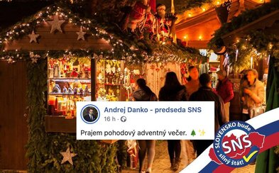 Predseda SNS Andrej Danko praje Slovákom pohodový adventný večer s trikolórou a logom strany na fotke vianočných trhov zo Ženevy