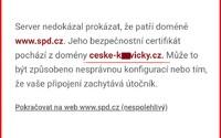 """Při zadání adresy """"www.spd.cz"""" na šifrovaném připojení vyskočí chyba. Bezpečnostní certifikát pochází z erotické seznamky"""