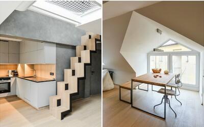 Pronajmi si dvoupatrový byt v Praze, kterému dominují čisté linie. Od centra je vzdálený pár minut