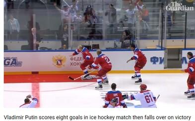Putin sa po konci hokejového zápasu potkol a spadol. Predtým však v exhibícii nastrieľal 8 gólov