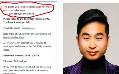 Rasistické technologie. Systém neakceptoval pasovou fotku Asiata, protože vyhodnotil, že má zavřené oči