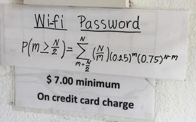 Restaurace, kde se k Wi-Fi jen tak lehce nepřipojíš. V cestě ti stojí náročný příklad jako z matematického pekla