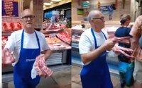Řezník zaútočil na protestující vegany syrovým kusem masa