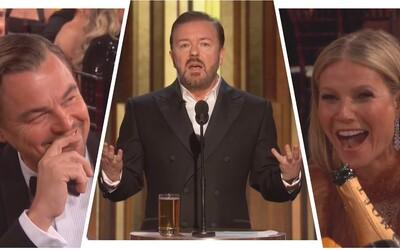 Ricky Gervais na Zlatých glóbusoch zničil DiCapria, Scorseseho, celý Hollywood a obul sa do Apple aj Disney
